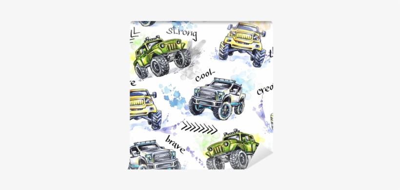 Watercolor Seamless Pattern Cartoon Monster Trucks - Monster Truck, transparent png #66801