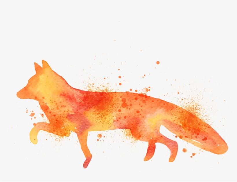 Fox Drawing Art Watercolor Painting Printmaking - Simple Water Color Fox, transparent png #68582