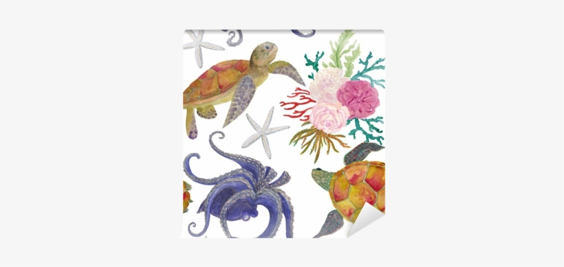 Watercolor Painting Seamless Pattern With Octopus, - Watercolor Painting, transparent png #68823