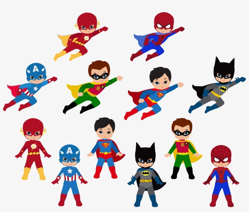 Clip Art Black And White Library Free Super Hero Clipart - Superhero Clipart, transparent png #69098