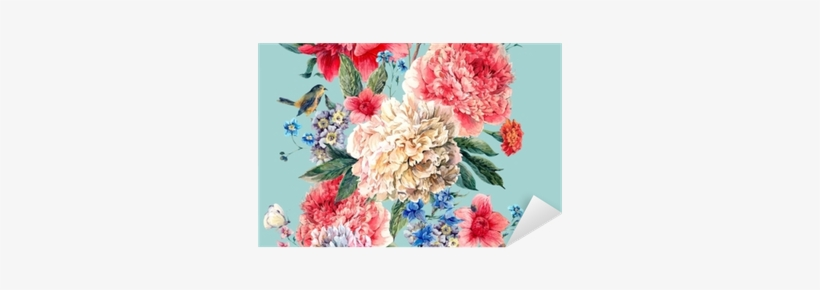 Vintage Floral Seamless Watercolor Peonies Border Pixerstick - Women's Floral T Shirt, transparent png #69497