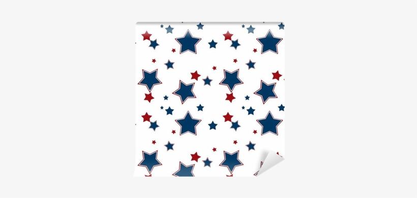 Seamless White Pattern With Red Blue Stars Background - Papel De Parede Infantil Estrelas Adesivo Lavável N4159, transparent png #600545