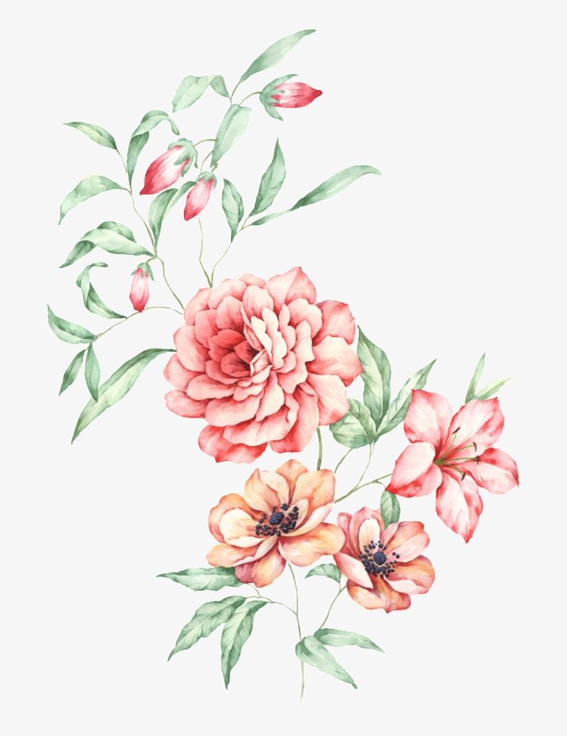 This Graphics Is Watercolor Floral Transparent Decorative - Bouquet, transparent png #600771