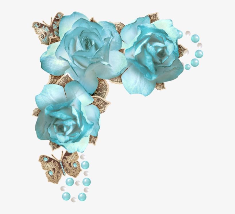 Forgetmenot Scrap Corners Todo Vintage Pinterest Corner - Blue Rose Corner Png, transparent png #603136