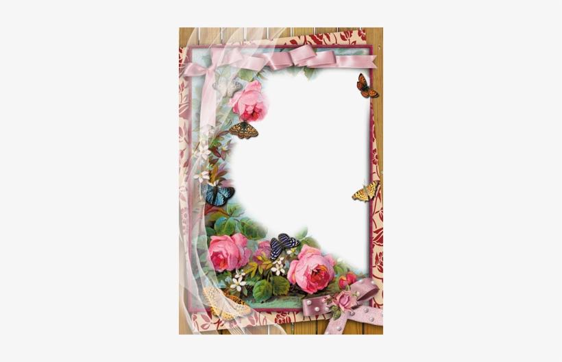 Rose Flower Design Border Png Marcos De Fotos - Love Photo Frame Editor, transparent png #603537
