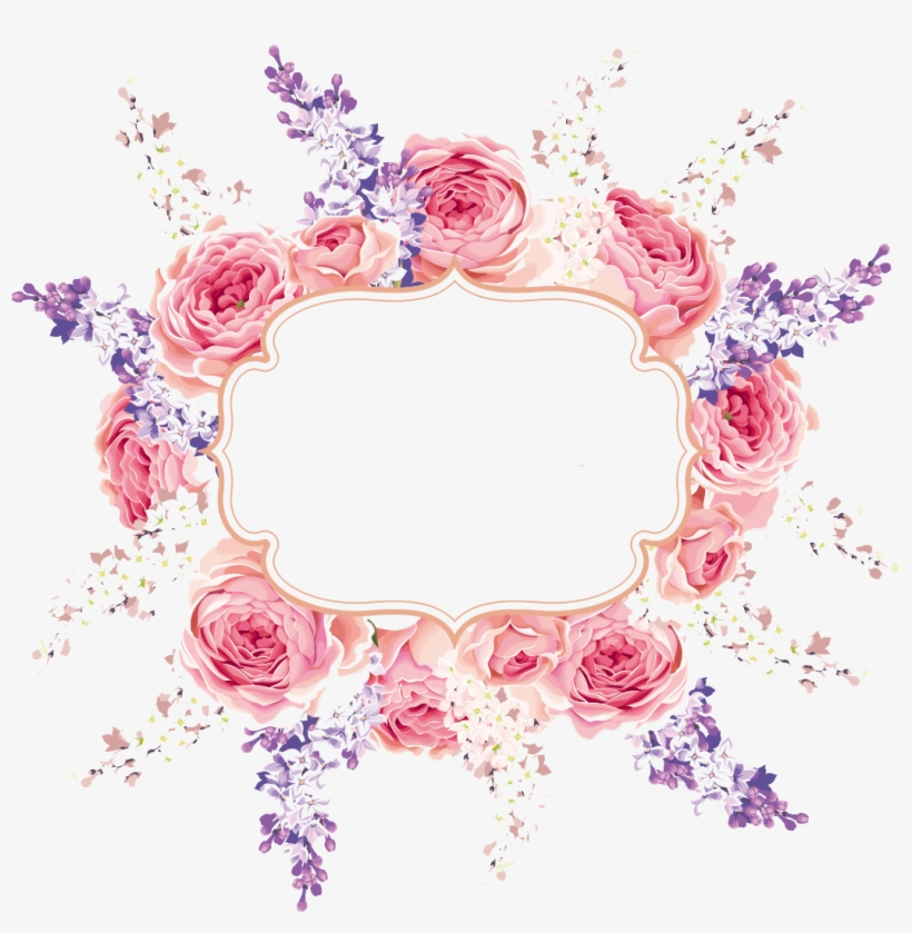Floral Flowers Frame Flower Wreath Arrangement Pink
