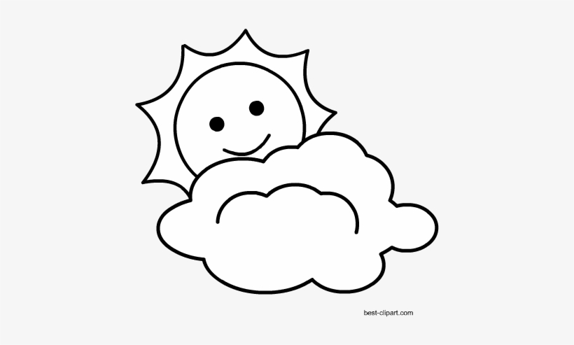 Black And White Cloud With Sun Free Clipart Clip Art Free