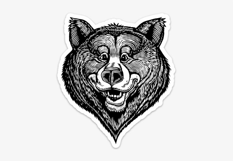 Image Of Happy Bear Face Vinyl Sticker - Sketch, transparent png #606661