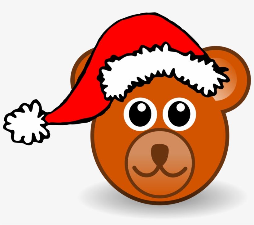 Funny Teddy Bear Face Brown With Santa Claus Hat - Christmas Bear Shower Curtain, transparent png #606989