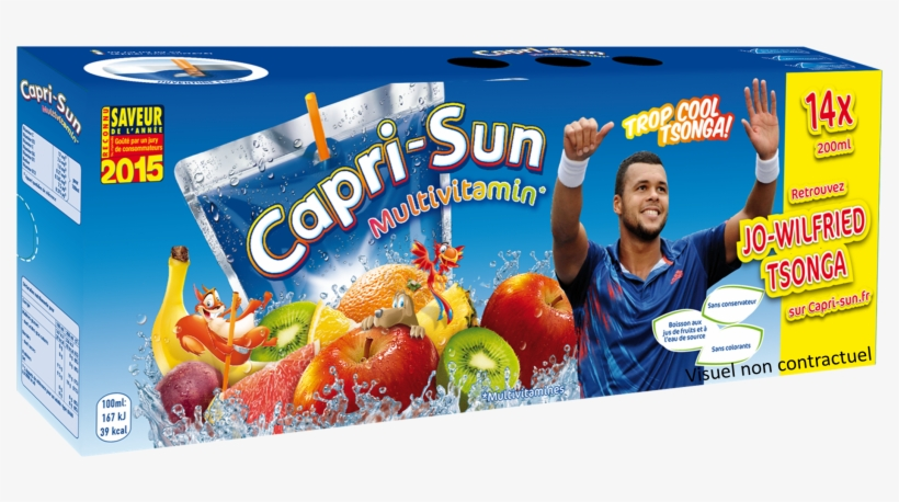 Jo Wilfried Tsonga Capri Sun Jus D'orange Sponsoring - Capri-sun Multivitamin 10 X 200ml, transparent png #609887
