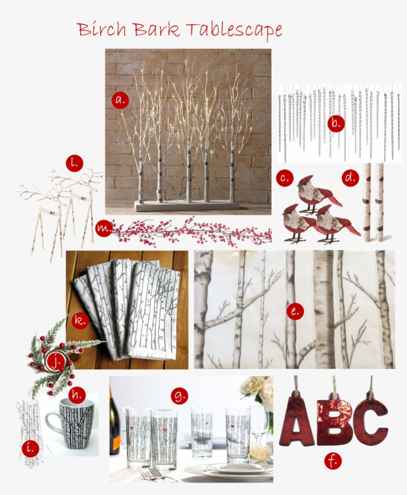 """See How Birch Bark Dresses Up A Holiday Table - Raz Lighted Birch Tree Forest, 30"""", transparent png #6008065"""
