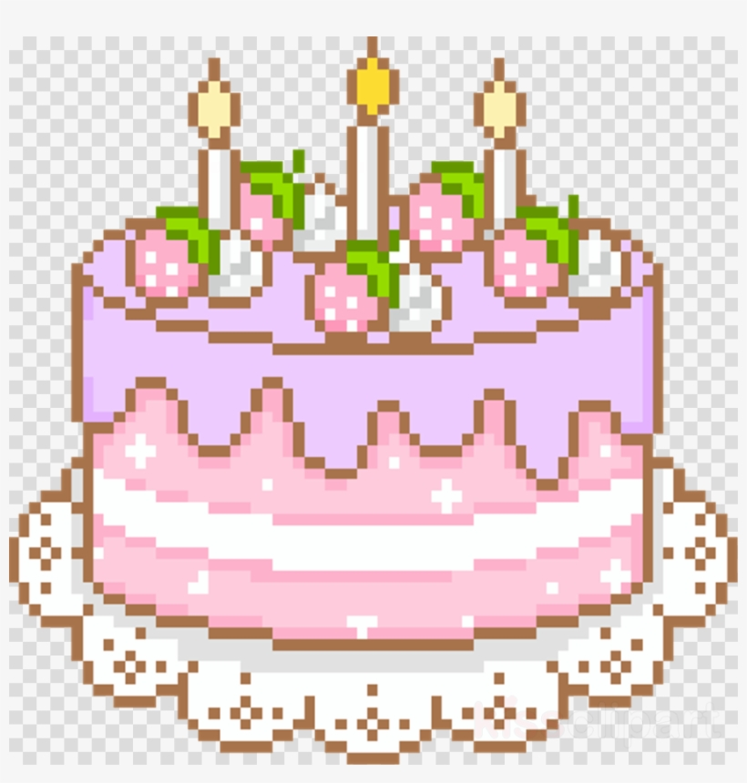 Kawaii Cake Pixel Clipart Cupcake Kawaii Birthday Cake Gif