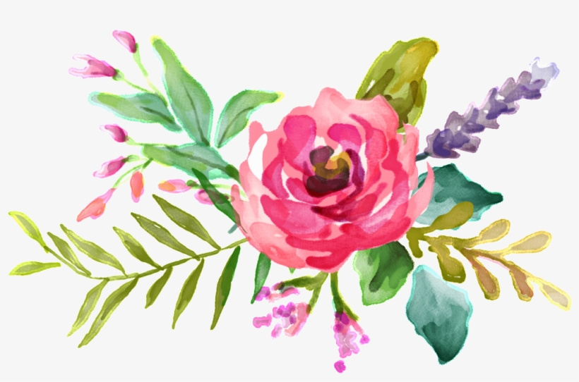 Pink Watercolor Flower Bouquet Design Background Vector - Floral Flower Png, transparent png #6059737