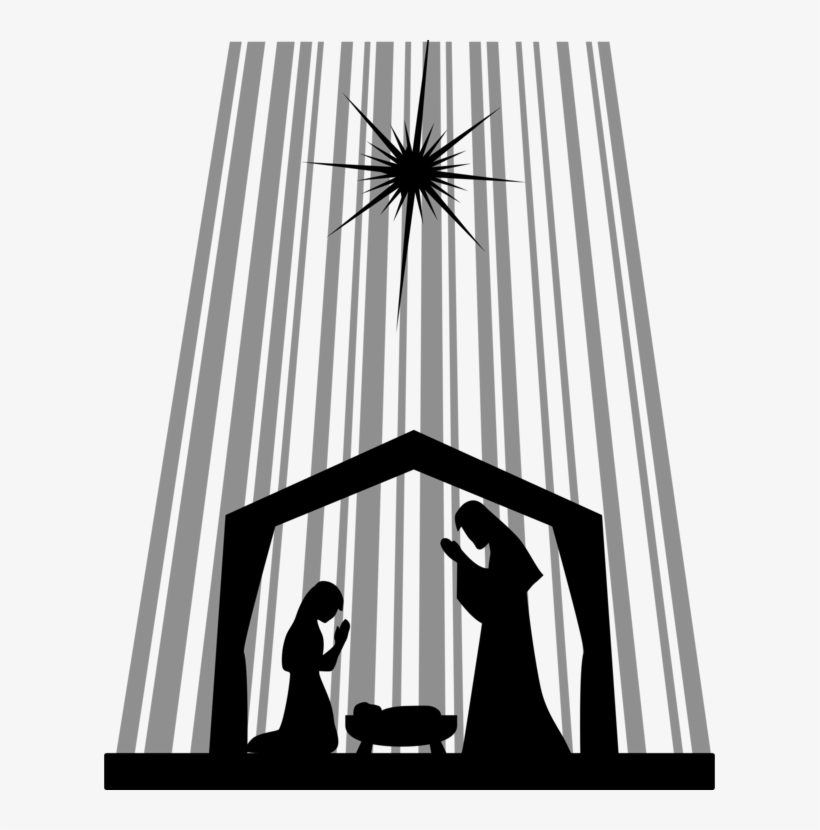 Nativity Scene Nativity Of Jesus Manger Bethlehem Child - Transparent Nativity Silhouette, transparent png #6069677
