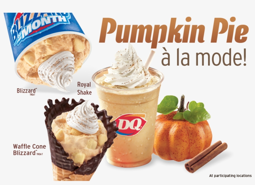 Pumpkin Pie A La Mode Blizzard Treat, Royal Shake, - Dairy Queen Pumpkin Pie Blizzard Calories, transparent png #6099379