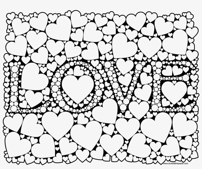 Love Coloring Page For Adults In Jpg And Transparent - Transparent Coloring Pages For Adults, transparent png #6120293