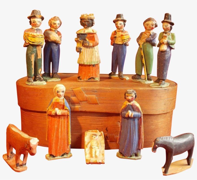 A Very Rare Th Century Grodnerthal Woodens - 9 Piece Nativity Set, transparent png #6172023