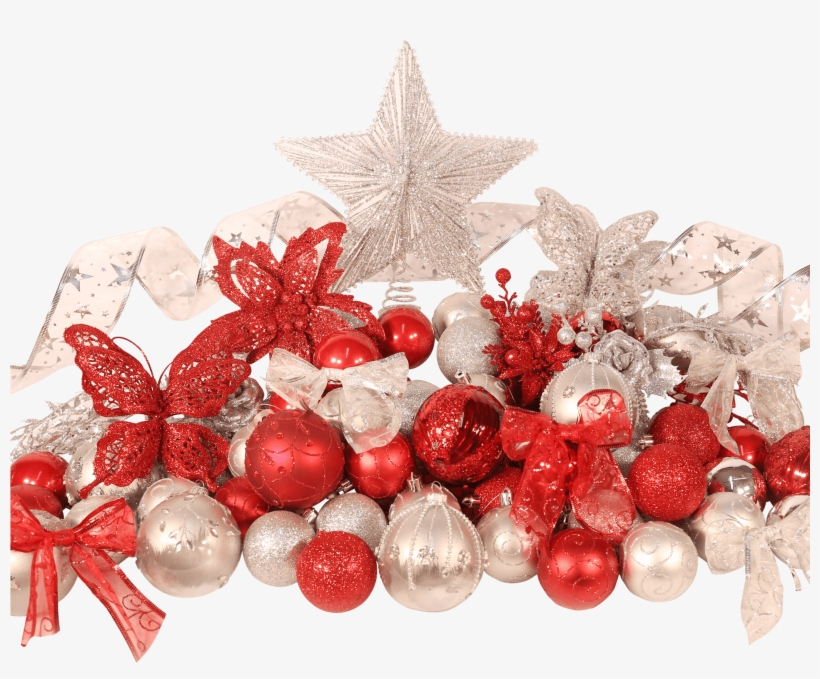 5ft Christmas Tree Classic Decoration Set In Red And - Christmas Tree, transparent png #6176116