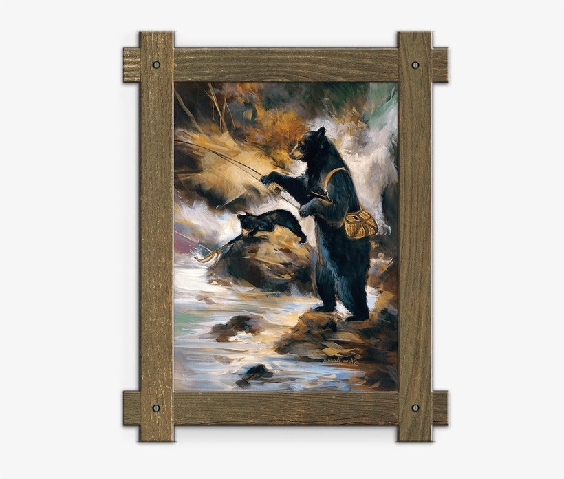 Framed In A Rustic-style Design, These Distressed Frames, - Fly Fishing Framed Wall Art, transparent png #6196424