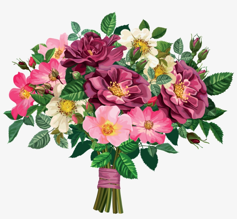 Rose Clipart Flower Bouquet Pencil And In Color Rose Flower
