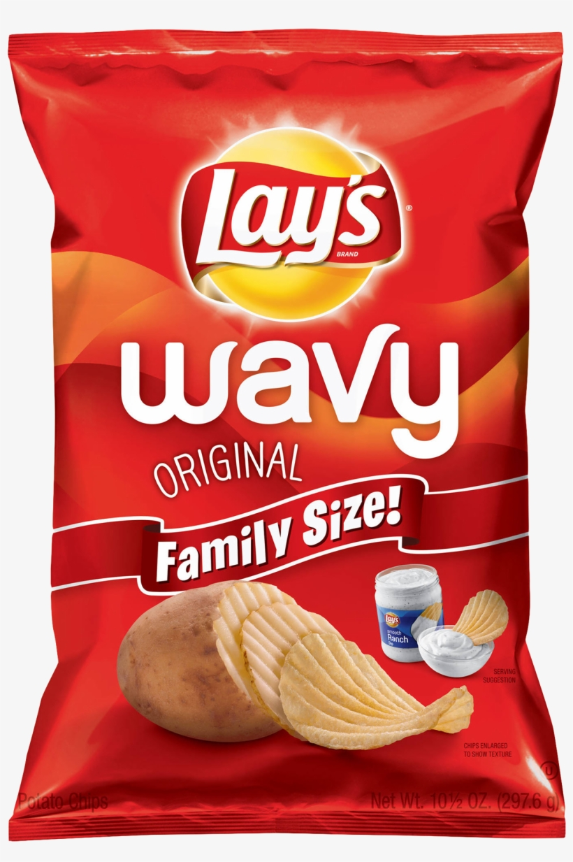 Lays Classic Potato Chips Packet Png Image - Family Size Wavy Lays, transparent png #623561