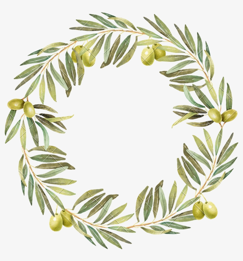 Graphic Free Download Wreath Watercolor Photos By Canva - Transparent Watercolour Olive Wreath, transparent png #628936