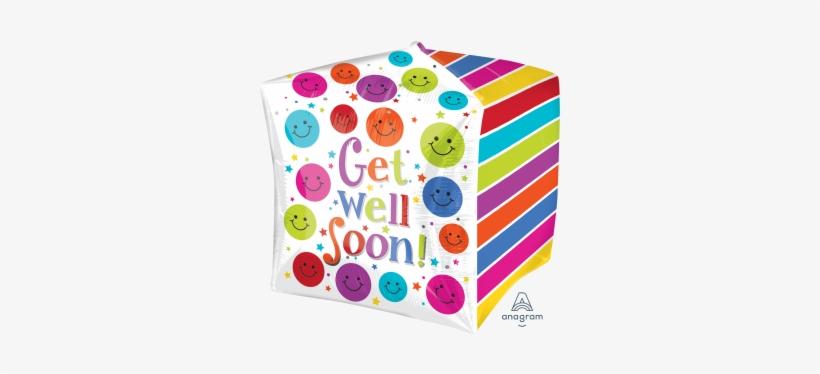 "17 - 15"" X15"" Get Well Soon Cube Cubez - Mylar Balloons, transparent png #629490"