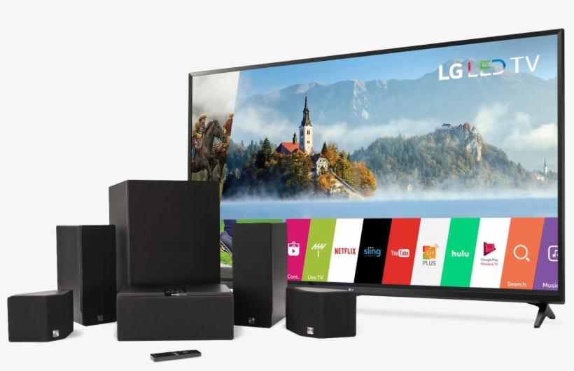 """65"""" Lg Tv & Enclave Surround System - Lg 55uj630v - 55"""" Led Smart Tv - 4k Ultrahd, transparent png #6249579"""