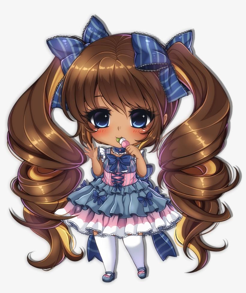Manga Clipart Chibi - Chibi Anime Girl Dark Skin, transparent png #6290265