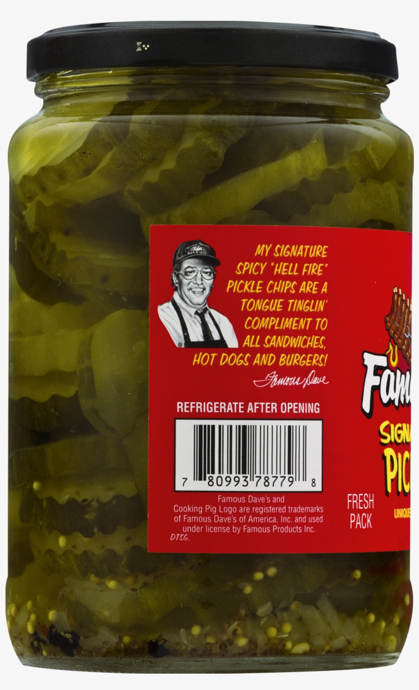 Famous Dave's Signature Spicy Pickle Chips 24 Fl - Famous Dave's Signature Spicy Pickle Chips - 24 Fl, transparent png #6291573