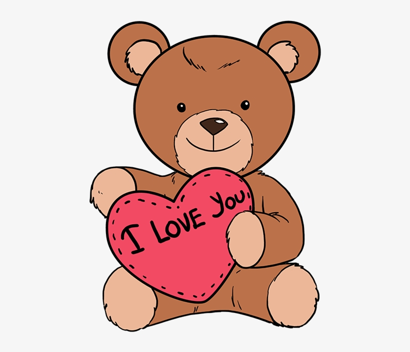 How To Draw Teddy Bear With Heart - Step By Step Easy Love Drawings, transparent png #6294228