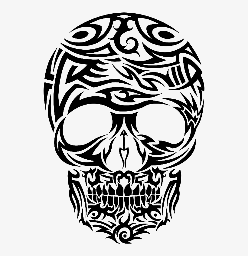 Tribal Tattoo Style Skull Gifts By Cm - Tribal Skull Tattoo Png, transparent png #630673