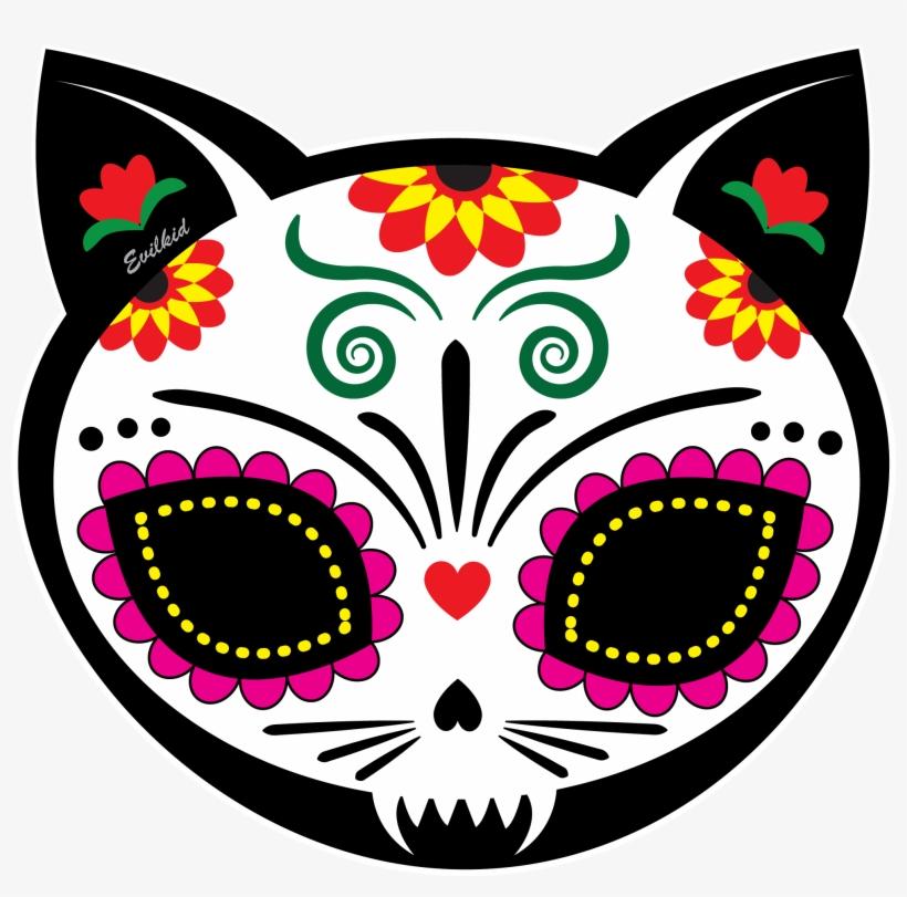 Gato Muerto Cat Sugar Skull For Dia De Los Muertos - Dia De Los Muertos Cat Skull, transparent png #631309