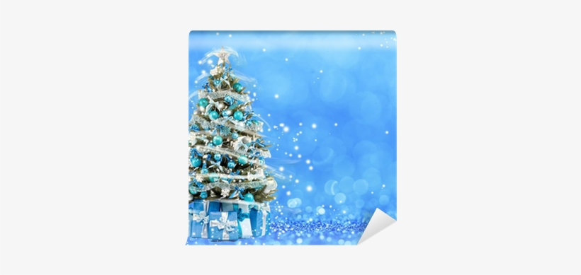 Christmas Tree From The Xmas Lights - Bokeh Blue Winter Christmas, transparent png #631838