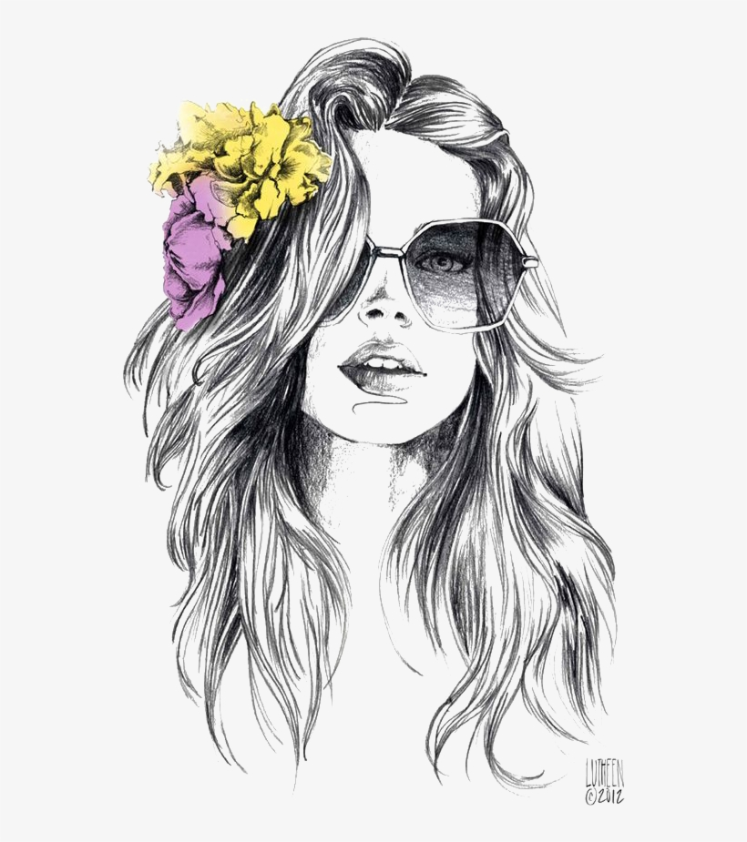 Drawing Watercolor Painting Fashion Illustration Sketch - Flower In Hair Drawing, transparent png #634760