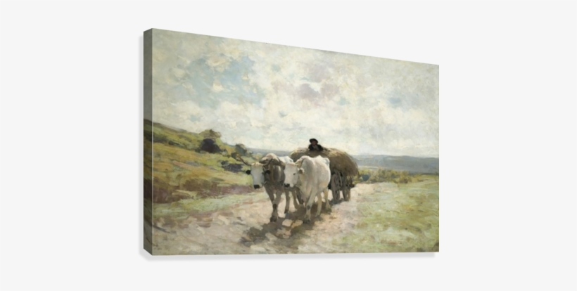 Clear Road With Farmer And Cattle Canvas Print - Car Cu Boi Nicolae Grigorescu, transparent png #636507