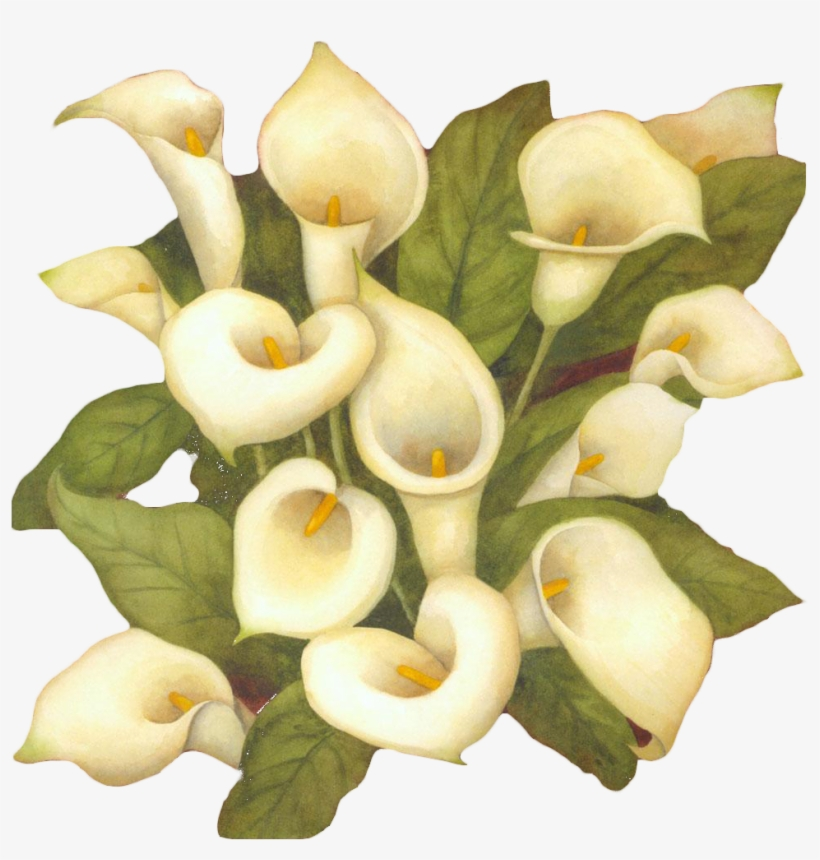 Clip Art The Art Of Painting Flower Arum-lily - Clip Art Lily Flower Bouquet Black And White, transparent png #6357616