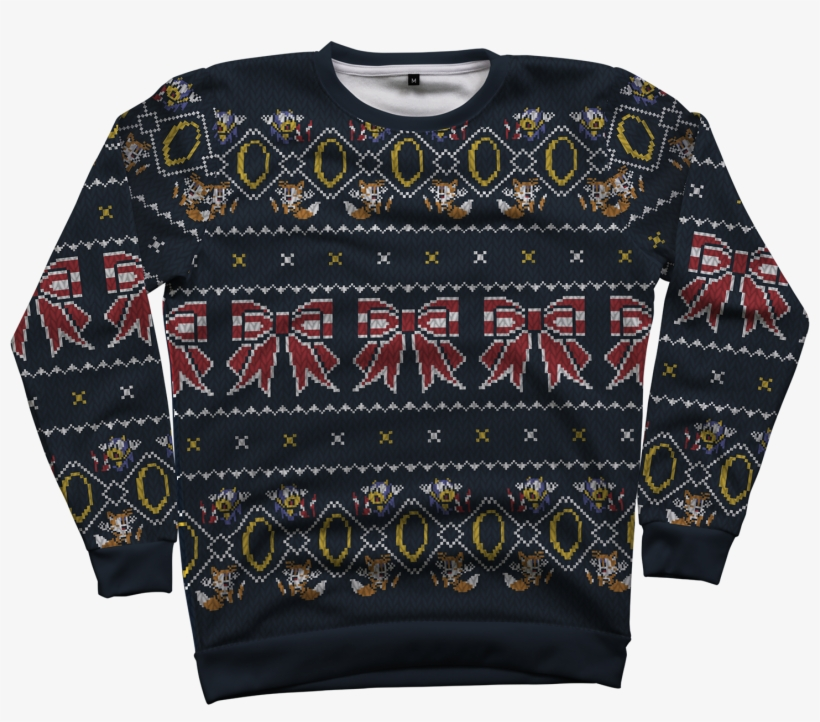 """""""five Gold Rings"""" All Over Gaming Christmas Sweater - 5 Gold Rings! Ugly Christmas Sweater, transparent png #6371251"""