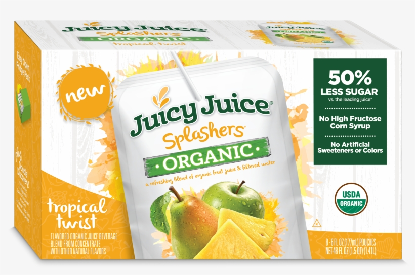 Juicy Juice Splashers Organic, Tropical Twist, 6 Fl - Juicy Juice Splashers Organic, transparent png #6374984