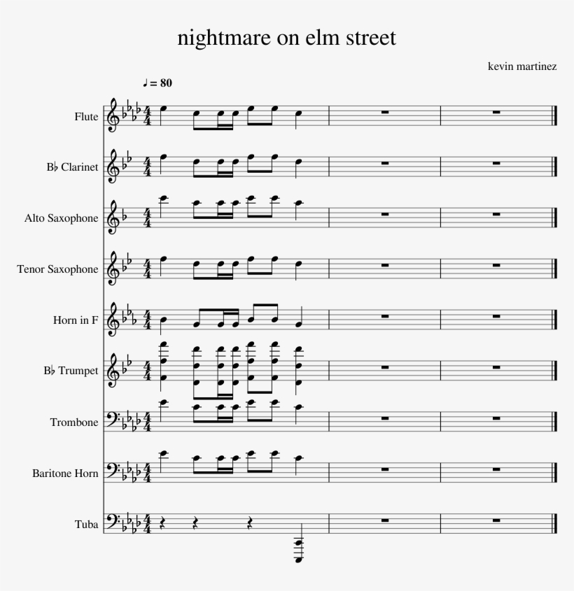 Nightmare On Elm Street Sheet Music For Flute, Clarinet, - Mo Bamba Sheet Music, transparent png #6389271