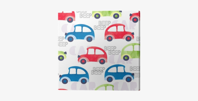 Seamless Pattern With Colorful Watercolor Cars - Watercolor Painting, transparent png #641604