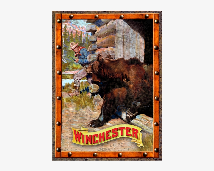 Winchester Cowboy And Grizzly Bear Tin Sign W1020 - Rockin W Cowboy And Bear Tin Sign, transparent png #644787