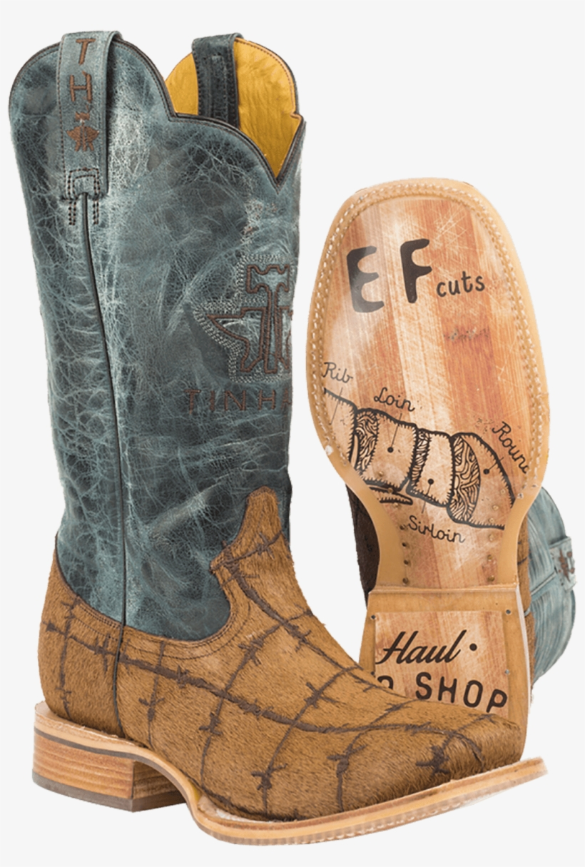 Tin Haul Men's Hair On Hairy Metal Cowboy Boot W/prime - Tin Haul Barbed Wire Boots, transparent png #645140