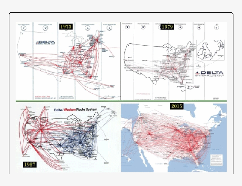 Historic Delta Airlines Route Map - Delta Air Lines - Free ... on