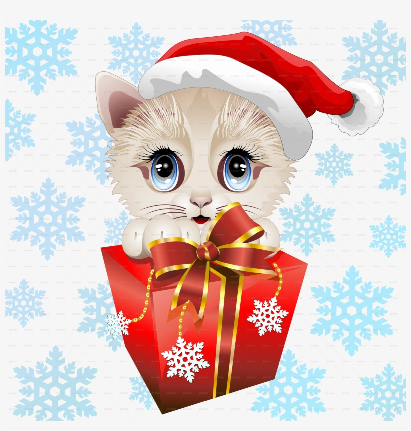 Christmas Kitten Png Picture Freeuse Download - Kitten Christmas Santa With Big Red Gift Sticker, transparent png #6418132