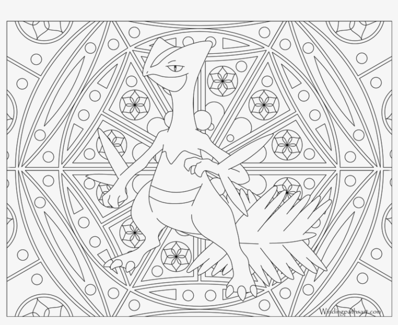 Pokemon Sceptile Coloring Pages - Adult Pokemon Coloring Page, transparent png #6463424