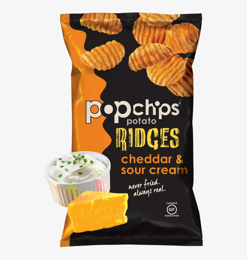 Picture - Popchips Ridges Cheddar & Sour Cream, transparent png #6465308