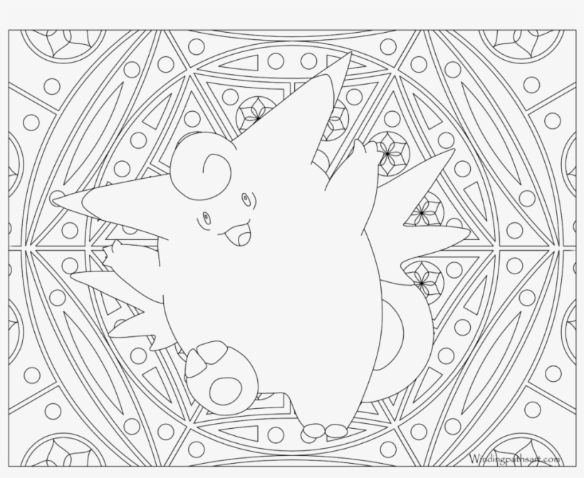 Adult Pokemon Coloring Page Clefable - Adult Pokemon Coloring Page, transparent png #6466922