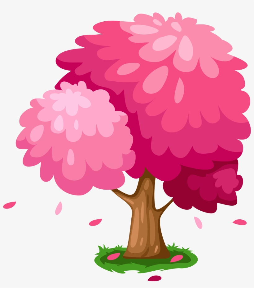 Cute Pink Spring Tree Clipart - Cute Tree Clipart, transparent png #653424