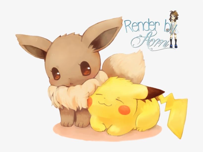 Natasha1830 Images A Chibi Eevee And Pikachu Hd Wallpaper - Pokemon Evoli Und Pikachu, transparent png #653640